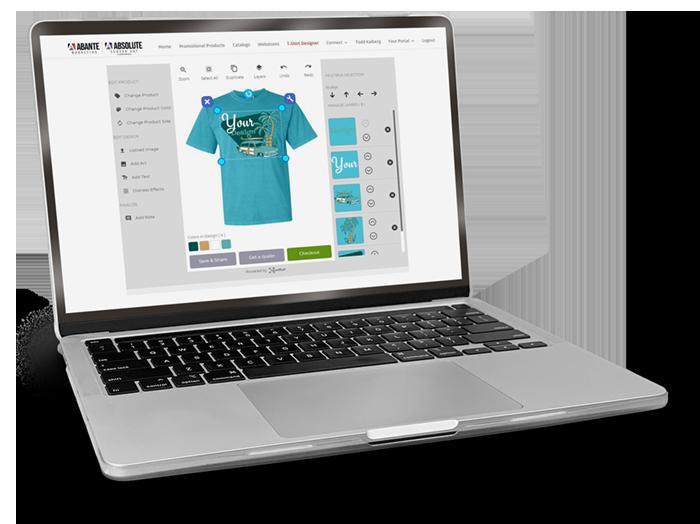 Laptop using t-shirt designer