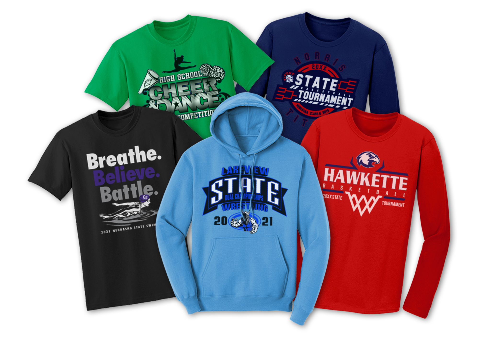Screen printed t-shirts with state tournament custom designs.