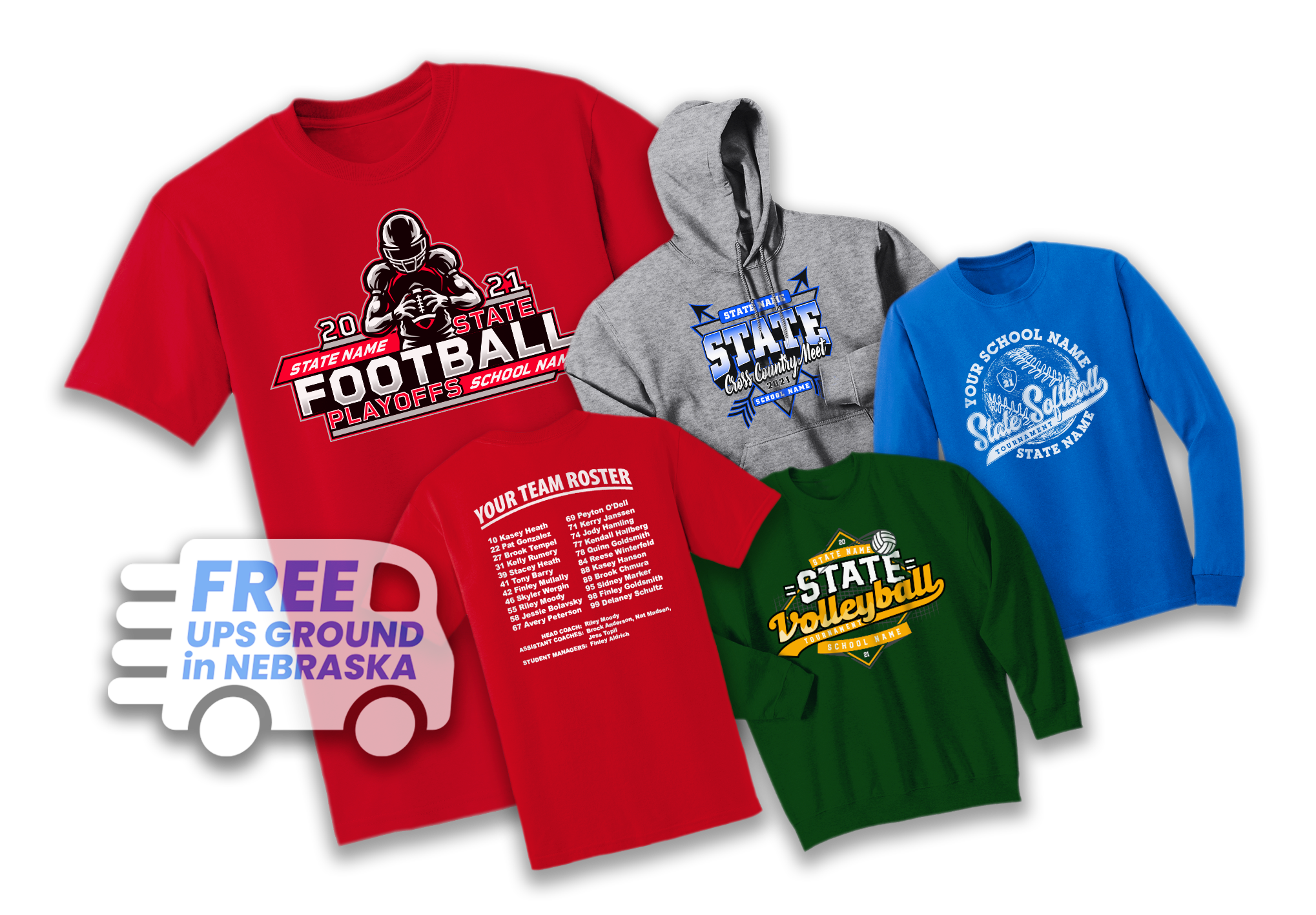 State Baseball and State Track and Field T-shirts